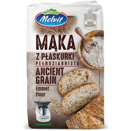 Mąka z płaskurki pełnoziarnista MELVIT 1kg