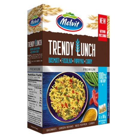 Trendy Lunch ryż basmati, fasolka, papryka, curry MELVIT 4 x 80 g